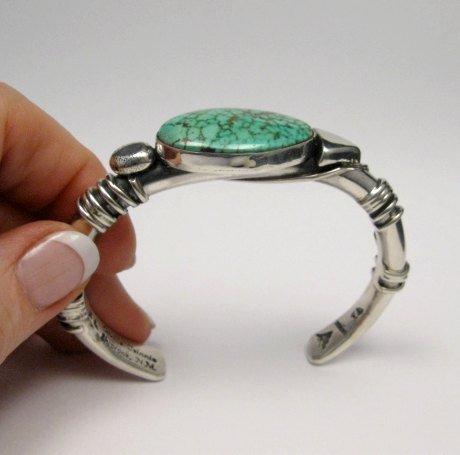Image 4 of Orville Tsinnie Navajo Kingman Web Turquoise Bracelet, Extra-Large