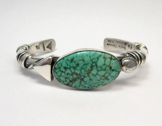 Image 5 of Orville Tsinnie Navajo Kingman Web Turquoise Bracelet, Extra-Large