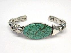 Orville Tsinnie Navajo Kingman Web Turquoise Bracelet, Extra-Large