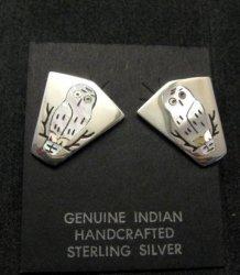 Zuni Inlaid Spotted Snowy Owl Earrings, Sanford Edaakie