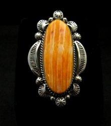 Navajo Handmade Silver Spiny Oyster Ring Sz8-1/2, Gilbert Tom