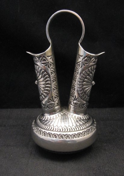 Image 2 of Daniel Sunshine Reeves Navajo Native American Silver Wedding Vase