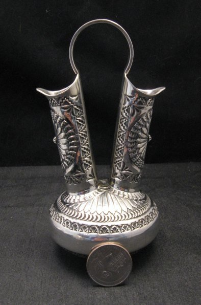 Image 5 of Daniel Sunshine Reeves Navajo Native American Silver Wedding Vase