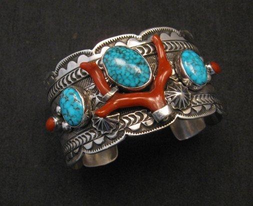 Image 0 of Navajo Native American Kingman Web Turquoise Coral Bracelet, Tillie Jon