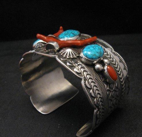 Image 1 of Navajo Native American Kingman Web Turquoise Coral Bracelet, Tillie Jon