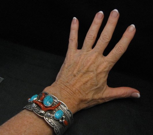 Image 2 of Navajo Native American Kingman Web Turquoise Coral Bracelet, Tillie Jon