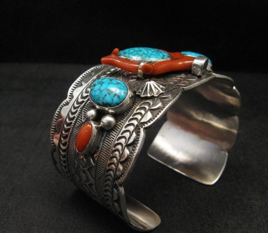 Image 3 of Navajo Native American Kingman Web Turquoise Coral Bracelet, Tillie Jon