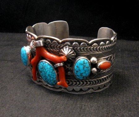 Image 4 of Navajo Native American Kingman Web Turquoise Coral Bracelet, Tillie Jon