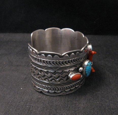 Image 5 of Navajo Native American Kingman Web Turquoise Coral Bracelet, Tillie Jon