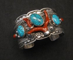 Navajo Native American Kingman Web Turquoise Coral Bracelet, Tillie Jon