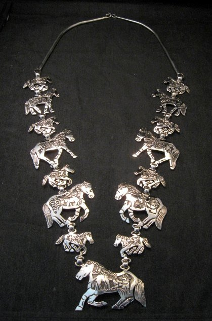 Image 0 of Navajo Lloyd Becenti Native American Horse Story Teller Necklace & Earrings