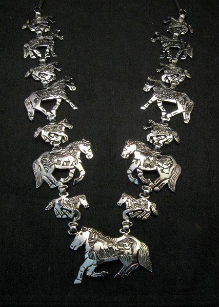 Image 1 of Navajo Lloyd Becenti Native American Horse Story Teller Necklace & Earrings
