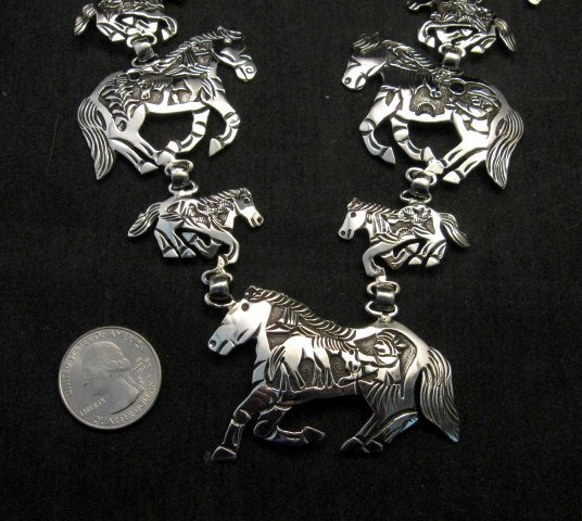 Image 2 of Navajo Lloyd Becenti Native American Horse Story Teller Necklace & Earrings