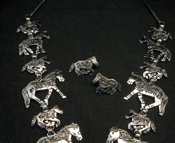 Image 3 of Navajo Lloyd Becenti Native American Horse Story Teller Necklace & Earrings