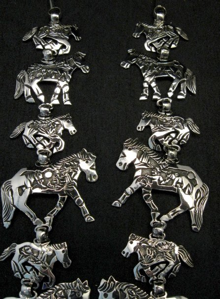 Image 5 of Navajo Lloyd Becenti Native American Horse Story Teller Necklace & Earrings
