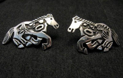 Image 6 of Navajo Lloyd Becenti Native American Horse Story Teller Necklace & Earrings