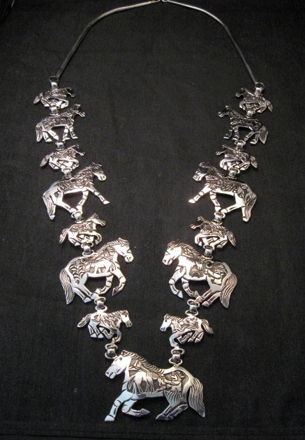 Image 7 of Navajo Lloyd Becenti Native American Horse Story Teller Necklace & Earrings