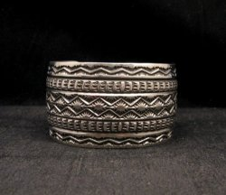 Navajo Handmade 1-1/2 inch Stamped Sterling Silver Cuff Bracelet Sunshine Reeves
