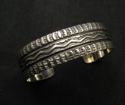 Sunshine Reeves Navajo Native American Stamped Sterling Silver Cuff Bracelet
