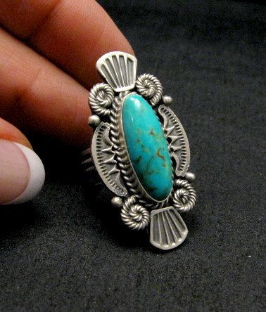 Image 2 of Michael Calliditto Kingman Turquoise Ring Sterling Silver Navajo sz5-1/2