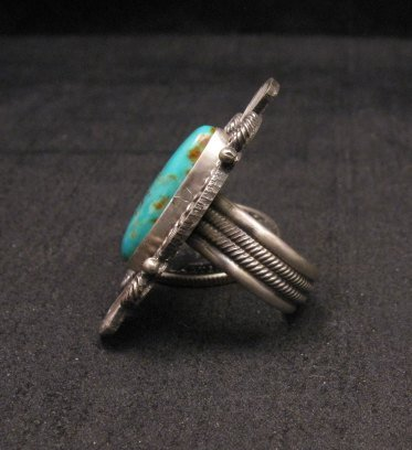 Image 1 of Michael Calliditto Kingman Turquoise Ring Sterling Silver Navajo sz5-1/2