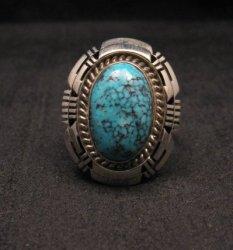Harley Jake Navajo Kingman Web Turquoise Silver Ring Sz8