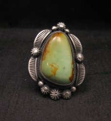 Navajo Stamped Sterling Silver Turquoise Ring, Bennie Ramone
