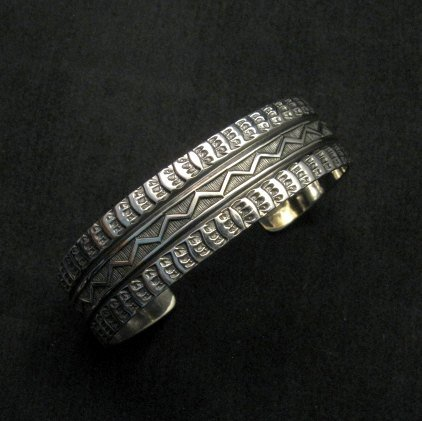 Image 0 of Sunshine Reeves Navajo Native American Stamped Silver 1-inch Wide Bracelet