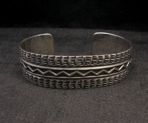 Image 1 of Sunshine Reeves Navajo Native American Stamped Silver 1-inch Wide Bracelet