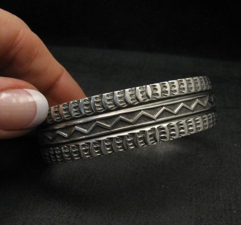 Image 2 of Sunshine Reeves Navajo Native American Stamped Silver 1-inch Wide Bracelet