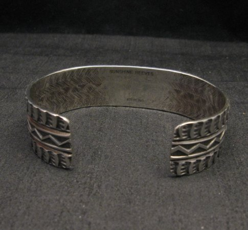 Image 5 of Sunshine Reeves Navajo Native American Stamped Silver 1-inch Wide Bracelet