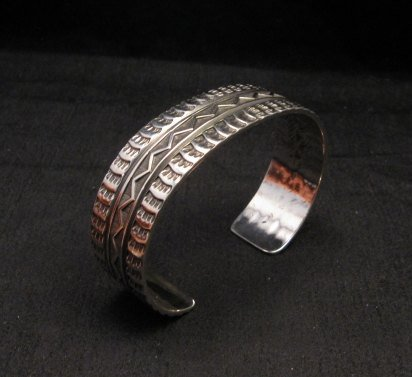 Image 6 of Sunshine Reeves Navajo Native American Stamped Silver 1-inch Wide Bracelet
