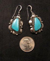 Navajo Native American Turquoise Silver Earrings, Gilbert Tom