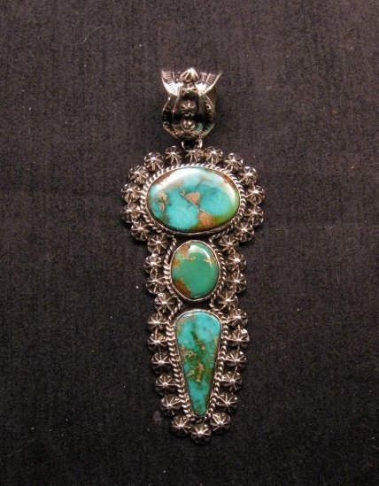 Image 1 of Native American Royston Turquoise Silver Pendant, Happy Piasso
