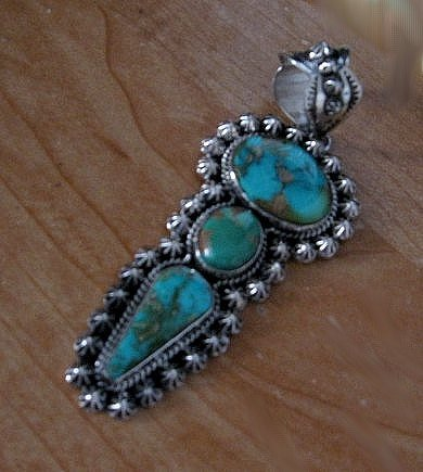Image 4 of Native American Royston Turquoise Silver Pendant, Happy Piasso