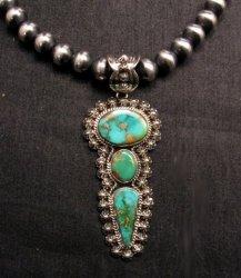 Native American Royston Turquoise Silver Pendant, Happy Piasso