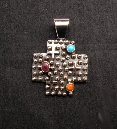 Image 0 of Native American Silver Multi Gemstone Cross Pendant by Geneva Apachito