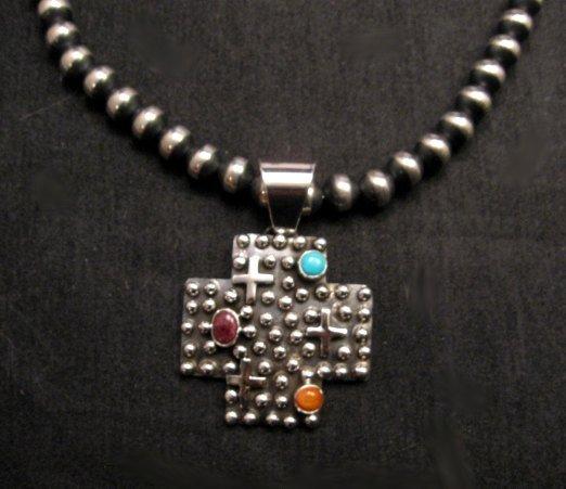 Image 1 of Native American Silver Multi Gemstone Cross Pendant by Geneva Apachito