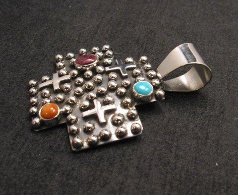 Image 2 of Native American Silver Multi Gemstone Cross Pendant by Geneva Apachito