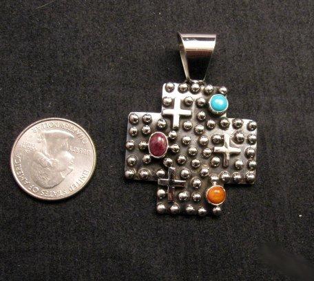 Image 3 of Native American Silver Multi Gemstone Cross Pendant by Geneva Apachito