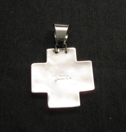 Image 4 of Native American Silver Multi Gemstone Cross Pendant by Geneva Apachito