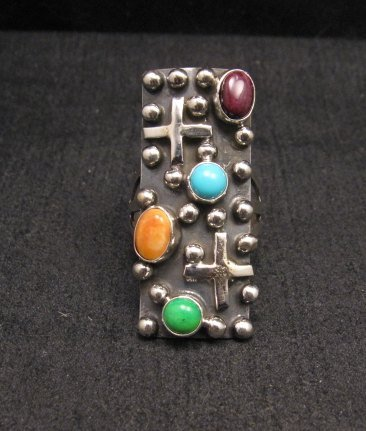 Image 0 of Native American Silver Multi Gemstone Cross Ring sz8 by Geneva Apachito