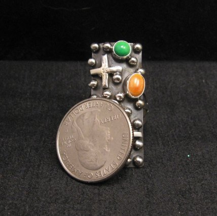 Image 2 of Native American Silver Multi Gemstone Cross Ring sz8 by Geneva Apachito