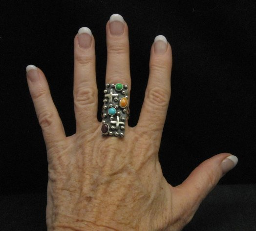 Image 3 of Native American Silver Multi Gemstone Cross Ring sz8 by Geneva Apachito