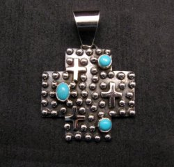 Native American Navajo Turquoise Silver Cross Ring sz8-1/2, Geneva Apachito