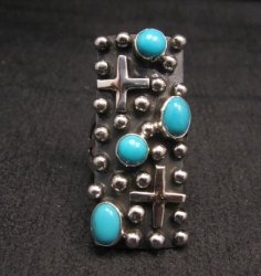 Native American Turquoise Silver Cross Ring sz8 by Geneva Apachito