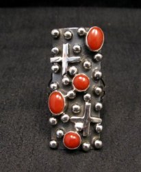Native American Navajo Coral Silver Cross Ring sz9, Geneva Apachito