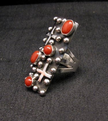 Image 1 of Native American Navajo Coral Silver Cross Ring sz7-1/2, Geneva Apachito