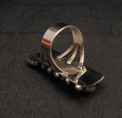 Image 2 of Native American Navajo Coral Silver Cross Ring sz7-1/2, Geneva Apachito