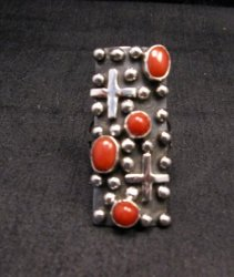Native American Navajo Coral Silver Cross Ring sz7-1/2, Geneva Apachito